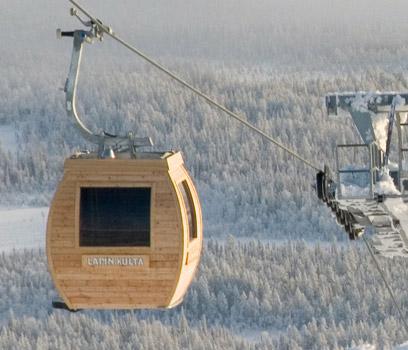 Sauna v kabince lanovky (Ylläs ski resort)